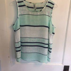 Stitchfix sz XL mint and navy blouse